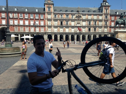 Me shredding on a mtn bike in La Plaza Mayor