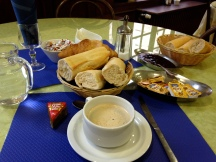 Wonderful breakfast in Lourdes. Freshly baked bread; yum.